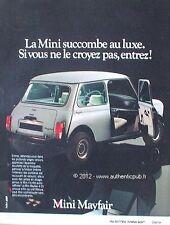 PUBLICITE AUTOMOBILE AUSTIN MINI MAYFAIR DE 1983 FRENCH AD CAR