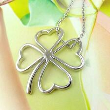 "Silver Shamrock Necklace Plated Irish Celtic Luck Clover 16"" St. Patricks Day"