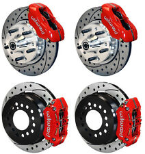 """WILWOOD DISC BRAKE KIT,73-83 CDP A,B,E,F,J-BODY,11"""" DRILLED ROTORS,RED,W/CABLE"""