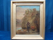 18th C European Landscape Painting on Canvas Man on the river side