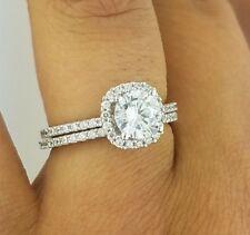 Diamante redondo 1.5 Quilates Conjunto De Anel De Noivado Aliança Ouro Branco 14k