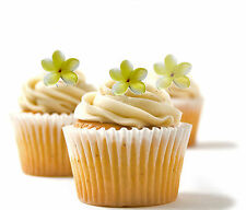 ✿ 24 Edible Rice Paper Cup Cake Toppings, Cake decs - Orchid yellow ✿