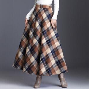 Women Faux Wool Check Skirt A-line Retro Half High Waist Long Skater Plaid 2XL