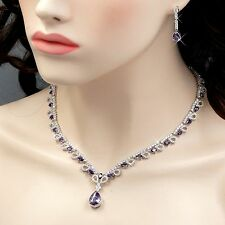 White Gold GP Amethyst Zirconia CZ Necklace Earrings Wedding Jewelry Set 00792
