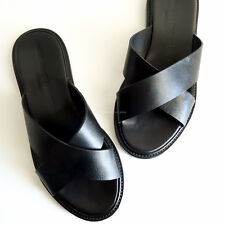 WOMAN BY COMMON PROJECTS 'leather slides' black sandals crossover criss cross 35