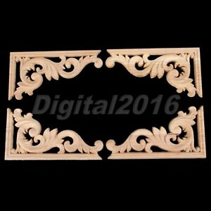 Exquisite Wood Carved Decal Corner Applique Frame Door Furniture Decor 13*7cm