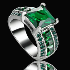 Size 6 Green Stone Ring Solitaire Crystal Wedding Engagement Mother Gift Party