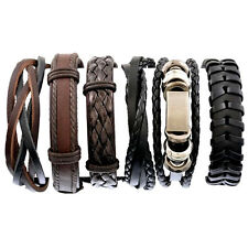 UK Set 6 in 1 Genuine Leather Stacker Multi Row Layer Surfer Style Bracelet Wrap