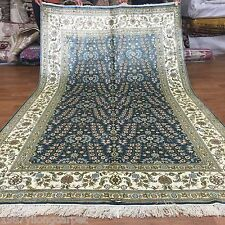 Yilong 5'x8' Blue Handmade Flower Woven Silk Area Rugs Hand Knotted Carpets L42B