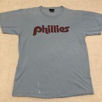Vintage Philadelphia Phillies Steve Carlton Blue Majestic Jersey T-Shirt XL *