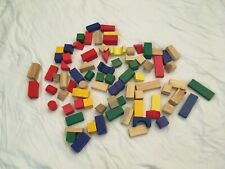 81 Mixed COLORED  Wooden Building Blocks - Kids Building Blocks - Toy