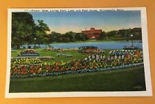 FLOWER BEDS, LORING PARK, REST HOUSE, MINNEAPOLIS MN early white-border postcard