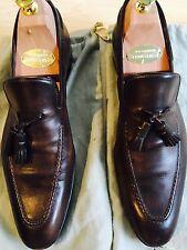 Original Santoni Loafer Gr. 8 Np 650€ Schuhe Tassel-Loafer Leder Dunkelbraun