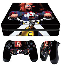 PS4 Slim Skin Childs Play Chucky Horror + Controller Decals Vinyl New LAY FLAT