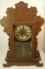 Antique WATERBURY CLOCK Co. Gingerbread MANTLE CLOCK Wooden Gold Ingraham CHIMES