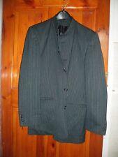 gent's black striped suit no collar viscose blend size 36