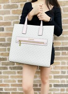 Michael Kors Kenly Large North South Tote PVC Leather Vanilla MK Signature Pink