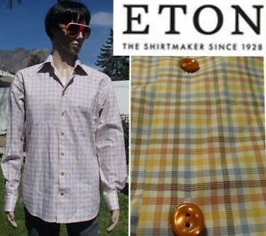 $250 ETON contemporary fit dress shirt pastel check plaid cotton twill 42 16.5 L