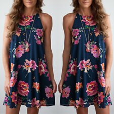 Exquisite Women Girl Summer Casual Floral Printed Round Neck Beach Party Dress