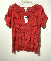 Chico's Women's Macrame Fringe Sweater Shirt Top Red Crocheted Boho Sz 2 (L) NWT