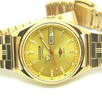 CITIZEN AUTOMATIC 8200 MEN GOLD PLATED VINTAGE GOLD DIAL MADE JAPAN WATCH