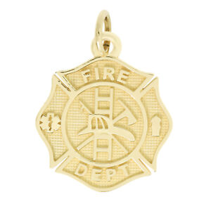14Kt Yellow Gold Polished Fire Department Maltese Cross Charm Pendant