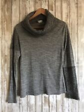 Oltre Wool Blend Turtle Neck Patch Gray Knit Sweater Top S Small *
