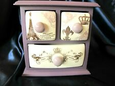 3 Drawers Apothecary Chest...Paris Romance..medicine..tea bag...jewelry..unique