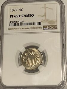 1872 5c PCGS PR 65+ Shield Nickel - Low Mintage Proof