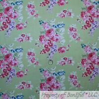 BonEful FABRIC FQ Cotton Quilt Green Mint Leaf Pink Red Rose Flower Shabby Chic