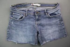 Women's Levi's Midi Jean Short Distressed Frayed Hem Stretch Size 9 (31x4)