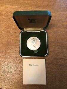 UK 1972 QUEEN ELIZABETH II SILVER PROOF CROWN COIN QEII & PRINCE PHILIP ANNIVERS