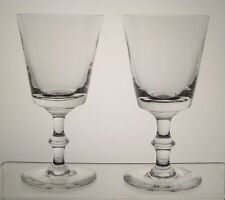 """UNKNOWN CRYSTAL Water Goblets 6 1/2"""", PAIR, Plain Bowl, Wafer Stem"""