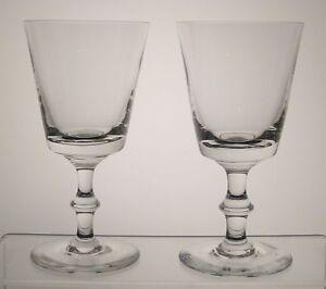 "UNKNOWN CRYSTAL Water Goblets 6 1/2"", SET/2, Plain Bowl, Wafer Stem, Heavy"