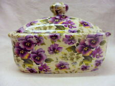 purple pansy chintz butterdish by Heron Cross Pottery