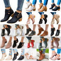Women's Low Mid Block Heel Ankle Boots Ladies Chunky Casual Booties Shoes Size