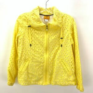 Ruby Rd. Womens Size 8 Yellow Full Zip Spring Jacket Long Sleeve Pockets