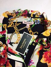 NWT Juicy Couture Angel Garden Bloom Floral Chain Link Stripe Silk Blouse Top 8