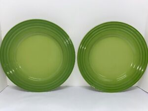 """TWO Le Creuset Lime Green 12"""" Dinner/Charger Plates"""
