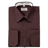 Berlioni Italy Men's Convertible Cuff Solid Italian French Dress Shirt Brown