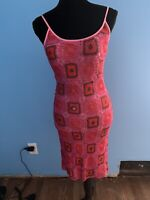 Sue Wong Pink Granny  Square Crochet Dress Vintage Size Small