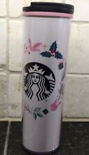 2018 Starbucks Christmas Wreath Pink White Travel Mug Tumbler Acrylic 16 oz New