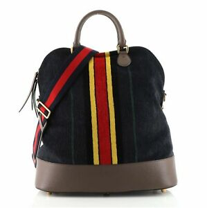 Gucci Web Convertible Dome Satchel Printed Chenille Jacquard Large