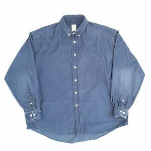 Vintage Corduroy Shirt Navy XL Long Sleeve