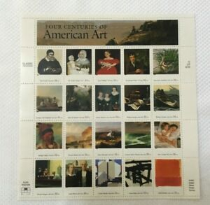 PANE OF 20 US POSTAGE STAMPS AMERICAN ART 32 CENTS