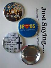 Christian Theme 3-pk Novelty Buttons/Pins:Jesus is my Superhero, Be the light .