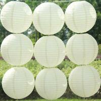 "10PCS 4""-16"" Round Hanging Chinese Paper Lanterns Wedding Party Decoration White"