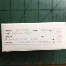Vishay Dale Metal Film Resistor 1k Ohm 1% 1/4W RN60D1001F Free Shipping 100 Box