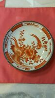 Antique Japanese Porcelain Plate Handpainted In Hong Kong Marked Excellent 7.75