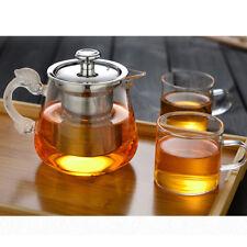 Théière en verre transparent 14 oz avec pot à thé en acier inoxydable